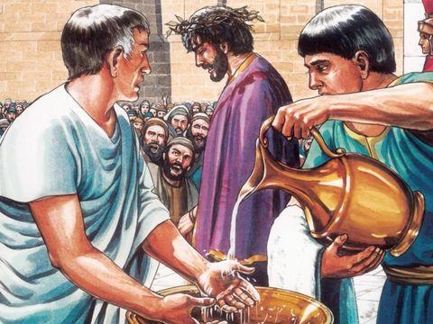 Ponce Pilate est gouverneur de la Judée.  C'est lui qui, sous la pression des chefs religieux juifs, ordonne l'exécution de Jésus-Christ par crucifixion en l'an 33 de n.e. Il s'en lave les mains devant le peuple.