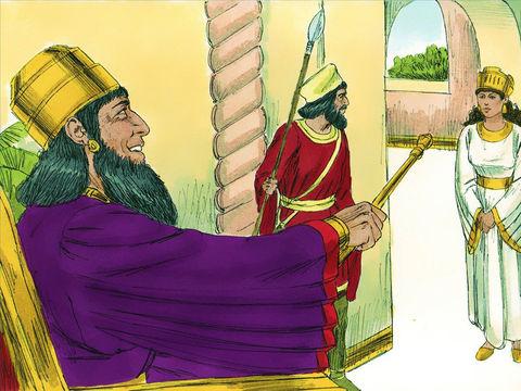 """Le roi lui demande : «Qu'as-tu, reine Esther, et que désires-tu? Même si tu réclames la moitié du royaume, elle te sera donnée.»  Esther lui répond : «Si tu le juges bon, roi, j'aimerais que tu viennes aujourd'hui avec Haman au banquet que j'ai organisé."""""""