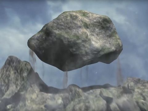 Une grosse pierre se détache d'une montagne puis est projetée sur la statue du rêve prophétique de Nébucadnetsar