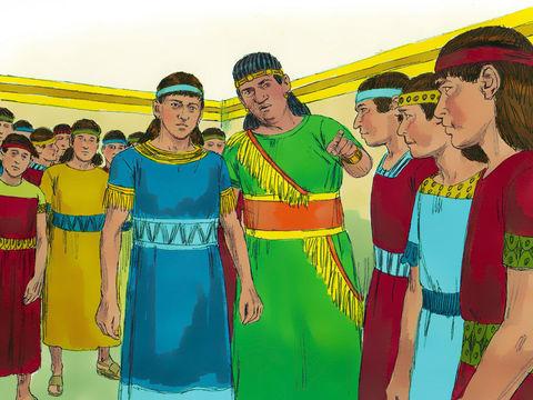 Après leurs 3 années de formation, Daniel et ses 3 compagnons sont présentés à Nébucadnetsar qui les trouve 10 fois supérieurs en sagesse et en intelligence que tous les sages et les astrologues de son royaume. Ils sont donc admis au service du roi.
