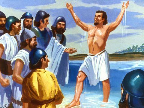 Naaman, chef de l'armée syrienne, se baigne dans le Jourdain comme l'a demandé Élisée. Il guérit miraculeusement de la lèpre.