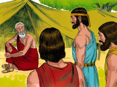 Abraham accueille 3 anges qui viennent lui annoncer que Sara sera enceinte, ce sont des anges