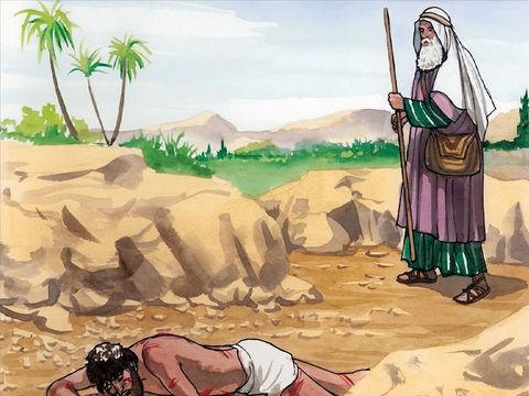 Parabole du bon Samaritain: un prêtre passe près de l'homme qui a été agressé et ne le secourt pas.