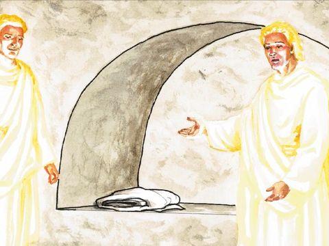 Après la résurrection de Jésus, deux anges habillés de vêtements blancs resplendissants s'adressent aux femmes venues voir Jésus.