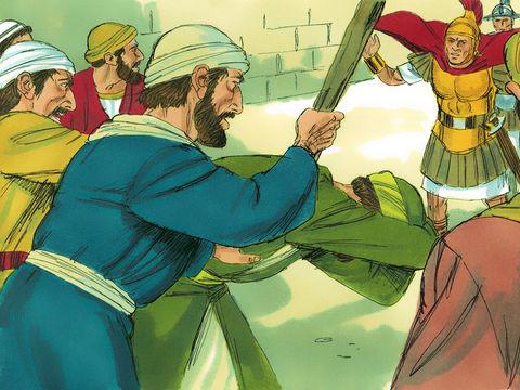 A Jérusalem, les foules essaient de tuer Paul et ne s'arrêtent de le frapper qu'à l'arrivée des soldats romains. Paul se fait alors arrêter par les Romains.