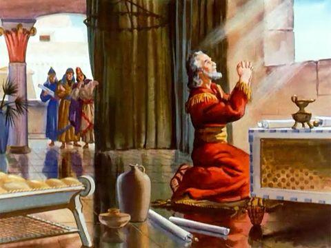 Envieux , les administrateurs trouvent un moyen de faire mettre à mort Daniel: Ils proposent au roi Darius de proclamer un décret selon lequel il est interdit de prier quelqu'un d'autres que le roi.