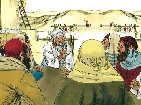 Ces ennemis des Juifs envoyient des lettres aux rois Cambyse II (529-522) et Bardiya (522-522), nommés Assuérus et Artaxerxès dans la Bible, pour porter de fausses accusations contre les Juifs. Le roi fait arrêter les travaux de reconstruction du Temple.