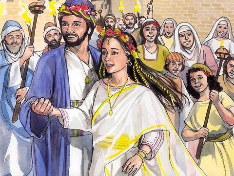 L'ange dit à Joseph que l'enfant vient de l'esprit saint et lui demande de prendre Marie pour femme.