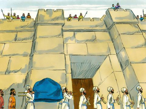 La prise de Jéricho a été miraculeuse, c'est une victoire attribuée à Jéhovah. Dieu ordonne aux Israélites de marcher autour de Jéricho, à l'aube, 7 jours de suite, avec à leur tête 7 prêtres qui soufflent dans 7 trompettes devant l'arche l'alliance.