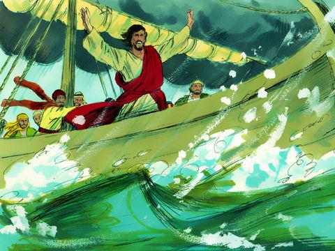 """Jésus se réveilla, menaça le vent et dit à la mer: «Silence! Tais-toi!» Le vent tomba et il y eut un grand calme. Saisis de frayeur et d'étonnement, ils se dirent: """"Qui est donc cet homme? Il donne des ordres au vent et à l'eau et ils obéissent!"""