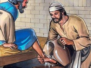 Jésus donne une leçon d'humilité en lavant les pieds de ses disciples, ceux qui veulent commander doivent servir les autres