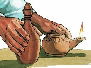 L'huile dans la lampe symbolise l'esprit saint
