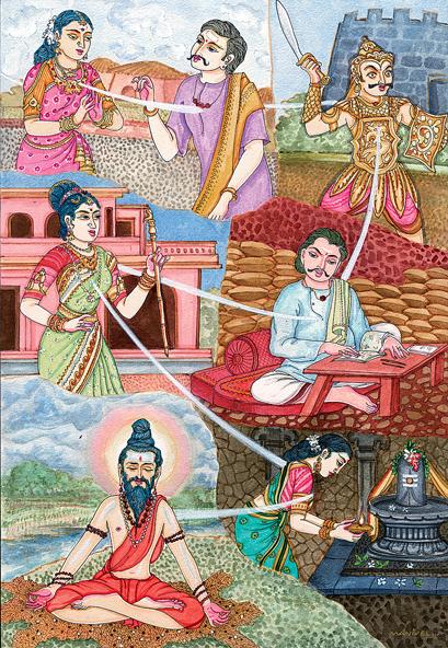 La réincarnation permet de vivre différentes expériences. Le cycle des réincarnations ou Saṃsāra condamne les âmes à se réincarner jusqu'à l'obtention du moksha : la délivrance du cycle douloureux des renaissances et des existences successives.