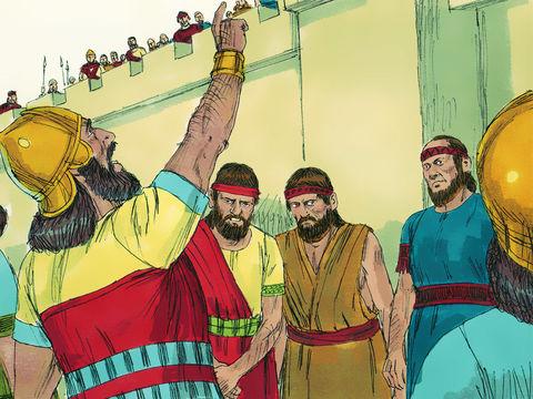 Le roi d'Assyrie Sennachérib a menacé le royaume de Juda de destruction. Il envoie un messager vers le roi Ézéchias de Juda pour lui dire de ne pas placer sa confiance en Jéhovah.