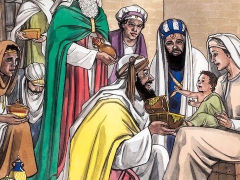 Les mages ou astrologues trouvent Jésus et se prosternent et l'adorent. Ils lui offrent des présents de grande valeur : de l'or, de l'encens et de la myrrhe.