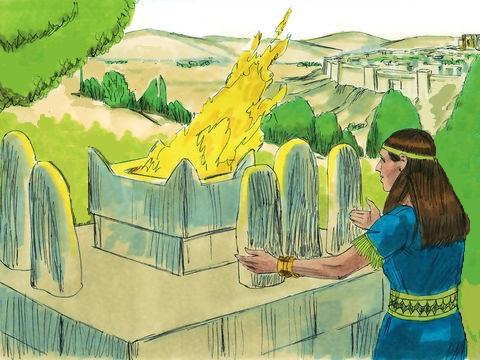 Salomon a construit de nombreux hauts-lieux afin que ses femmes étrangères puissent offrir des parfums à leurs dieux païens et vénérer Baal, Astarté, Kémosh, Milcom, Moloc (à qui les Israélites iront jusqu'à offrir leurs propres enfants en sacrifice)