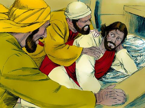 Jésus a calmé une tempête sur le lac de Tibériade. Alors que l'équipage s'affolait, Jésus dormait tranquillement. Ses disciples viennent le réveiller.