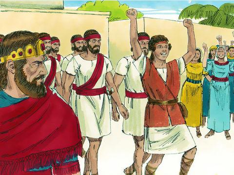 Alors que David vient de tuer Goliath, le Philistin géant qui a faisait trembler Israël, les femmes chantent pour rendre gloire à ses victoires supérieures à celles du roi Saül. Saül a frappé ses mille, Et David ses dix mille. Saül fut très irrité.
