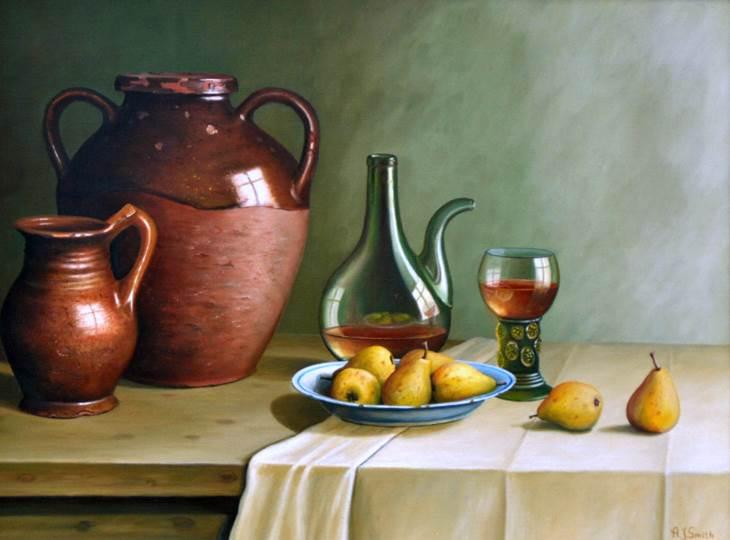 Stilleven met aardewerk glas en fruit