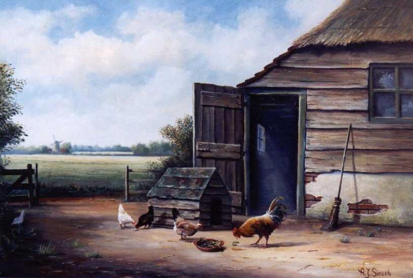 Boerderij met kippen
