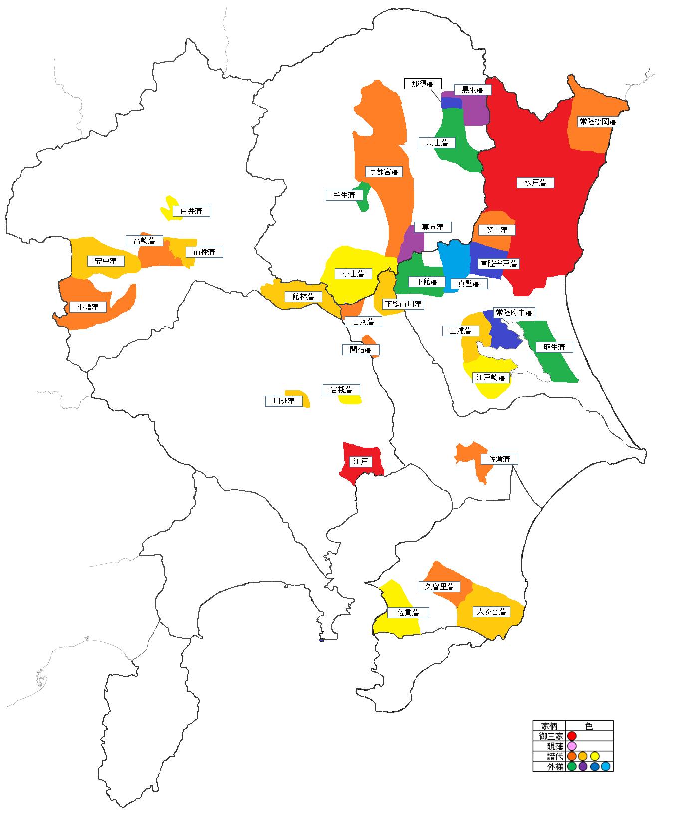 関東地方の大名配置図 大阪の陣後 - 江戸時代の大名領地Map