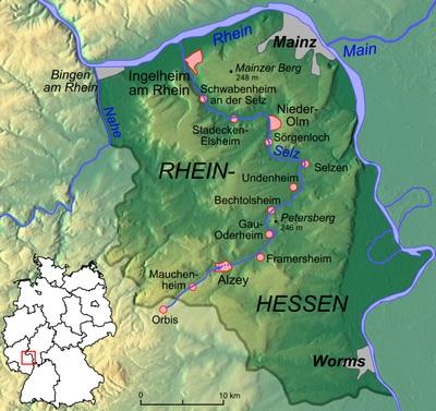 Karte von Rheinhessen mit eingezeichnetem Selztal-Radweg