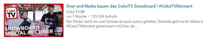 YouTube-Thumbnail: Coke TV Logo und Moderatoren bei Snowboard-Bau.