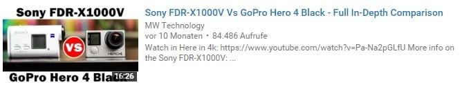 YouTube-Thumbnail: Foto der beiden Action Cams Sony FDR-X1000V und GoPro Hero 4 Black.