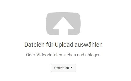 Upload-Bereich zum Hochladen neuer Videos auf YouTube.