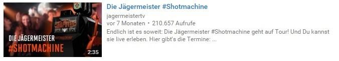 """YouTube-Thumbnail zu einem Video über die """"Shotmachine"""" von Jägermeister."""