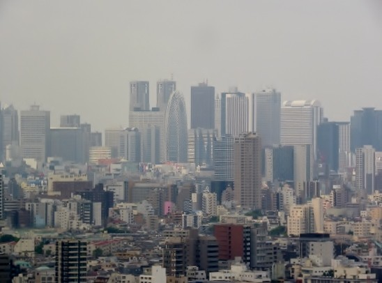 展望ラウンジから・・東京都庁など新宿の高層ビル群