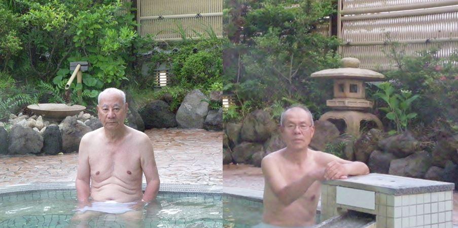朝:露天風呂で