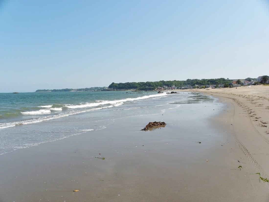 三浦海岸(広い砂浜と目前に海)・・前方のうすく見える半島は城ケ島