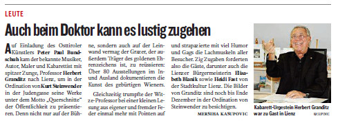 Bericht in der Osttirol Ausgabe der Kleinen Zeitung vom 15.10.2011