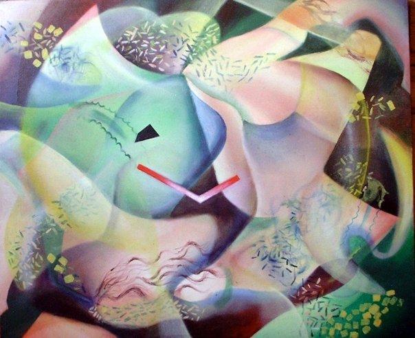 «Composición geométrica (Almuerzo campestre)» óleo sobre lienzo - 50 x 60 cm - 2003
