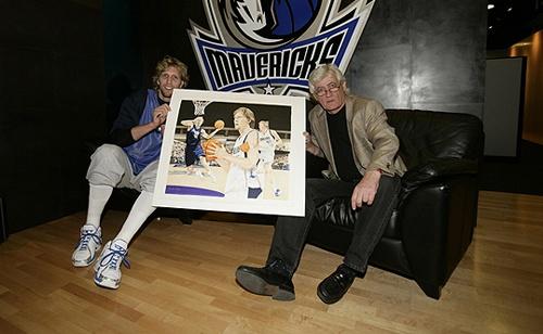Dirk Nowitzki und Joachim Thiess mit der Original Collage