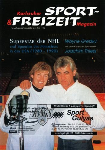 Magazin mit Bild von Wayne Gretzky und Joachim Thiess