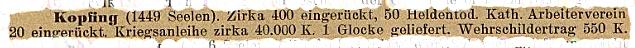 Bericht des Pfarramtes Kopfing (1917): Hohe Anzahl von Eingerückten, 66 Gefallene vermerkt das Kriegerdenkmal ...