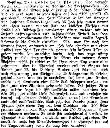 Über den Zusammenhang zwischen verkauften 200kg-Schweinen und kargen Knödeltellern beim Drusch im Pfarrhof... (Tagblatt. 24.9.1927)t