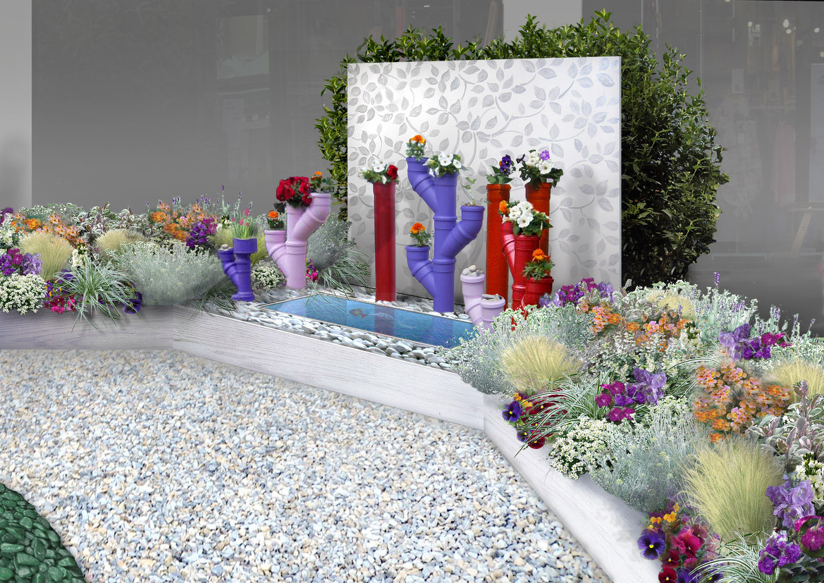 le fioriere-tubo sono ideate e realizzate da Marcello Redaelli