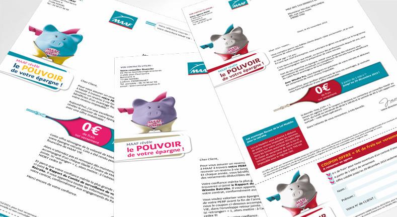 LSZ Communication - Graphiste - Directrice artistique freelance Nantes - #lepetitoiseaudelacom - Maaf - Assurance Vie - Opération Réactivation - Lettre - Mailing - Agence Caribou