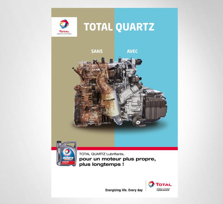 LSZ Communication - Graphiste - Directrice artistique freelance Nantes - #lepetitoiseaudelacom - TOTAL AMO - Lubrifiant - Total Quartz - Affiche - Agence Caribou