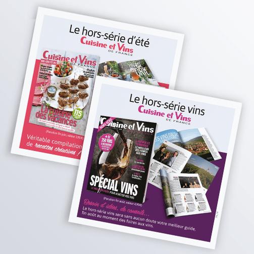 LSZ Communication - Graphiste - Directrice artistique freelance Nantes - #lepetitoiseaudelacom - Marie Claire - Cuisine et Vins de France - Abonnement magazines - Flyer - Hors-Série - Agence BY M