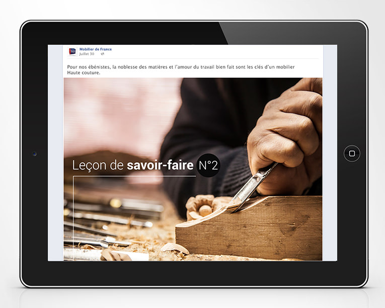 LSZ Communication - Graphiste - Directrice artistique freelance Nantes - #lepetitoiseaudelacom - MOBILIER DE FRANCE - Post facebook - Reseaux Sociaux - Leçon de savoir-faire - Agence Caribou