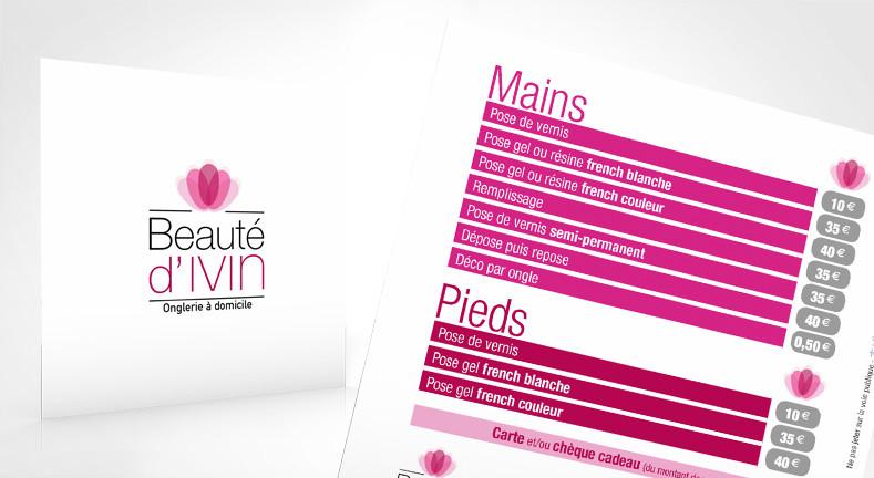 LSZ Communication - Graphiste - Directrice artistique freelance Nantes - #lepetitoiseaudelacom - BEAUTE D'IVIN - Prothésiste ongulaire - Extension de cils - ONGLERIE - QUIMPER - Dépliant - Plaquette tarifs