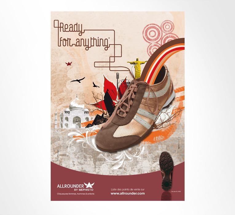 LSZ Communication - Graphiste - Directrice artistique freelance Nantes - #lepetitoiseaudelacom - Allrounder By Mephisto - Campagne publicitaire - Affiche illustration
