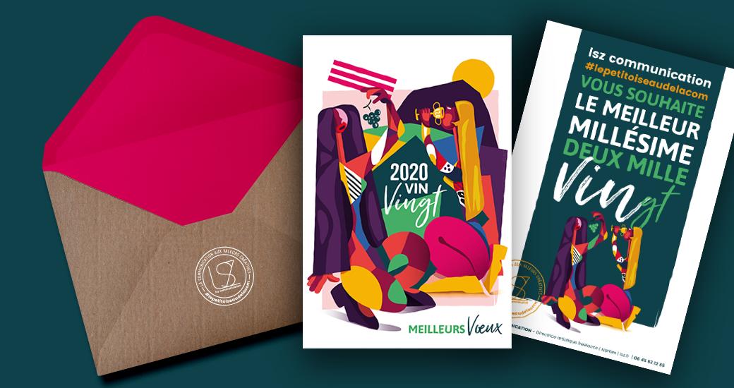 LSZ Communication - Graphiste - Directrice artistique freelance Nantes - #lepetitoiseaudelacom-Illustration-Carte Voeux - Bonne année 2020