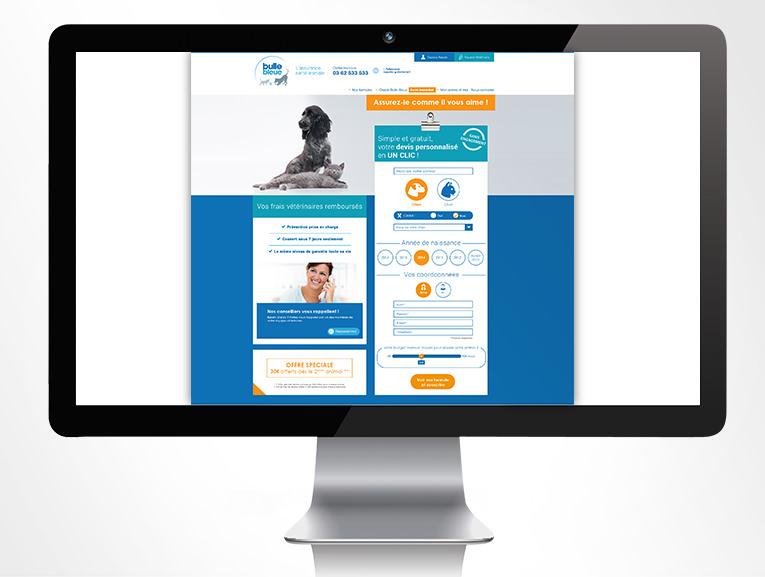 LSZ Communication - Graphiste - Directrice artistique freelance Nantes - #lepetitoiseaudelacom - Bulle Bleue - Assurance Santé Animale - Home site web - Agence caribou