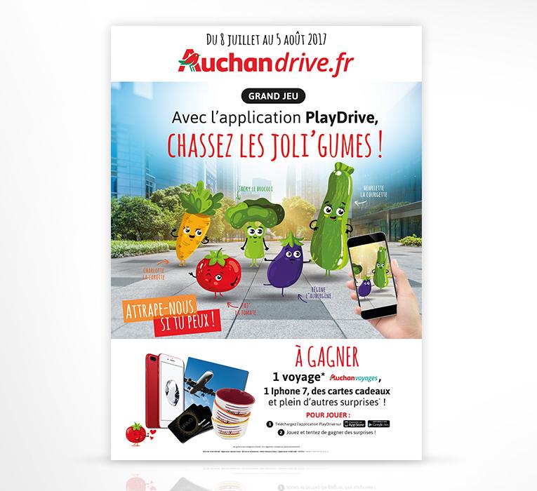 LSZ Communication - Graphiste - Directrice artistique freelance Nantes - #lepetitoiseaudelacom - Auchan Drive - Affiche - Chassez les joli'gumes - Agence Caribou