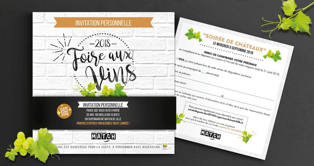 LSZ Communication - Graphiste - Directrice artistique freelance Nantes - #lepetitoiseaudelacom - SUPERMARCHE MATCH - ALIMENTAIRE - Foire aux Vins - invitation - Agence Caribou